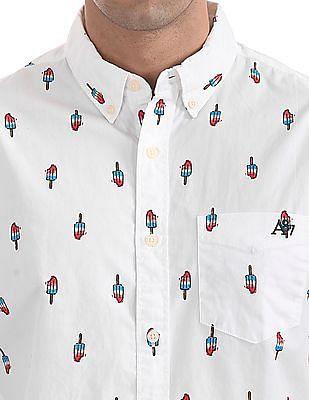 Aeropostale Button Down Printed Shirt