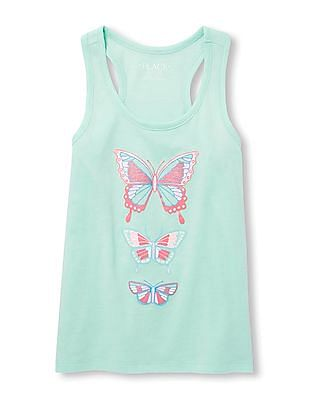 The Children's Place Girls Blue Matchables Sleeveless Glitter Graphic Racer-Back Tank Top