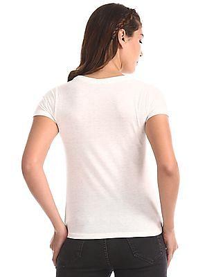 Flying Machine Women White Round Neck Lurex T-Shirt