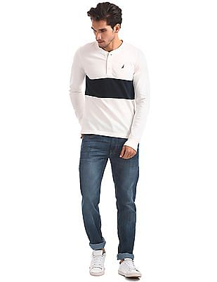 Nautica Long Sleeve Cut and Sew Color Block Henley