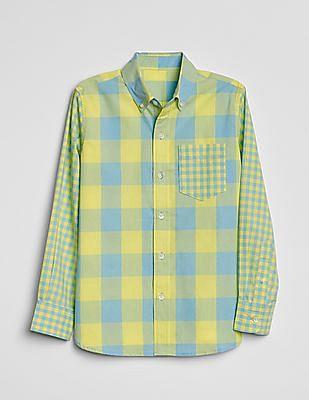 GAP Boys Mix-Plaid Long Sleeve Shirt