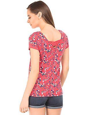 SUGR Floral Print Knit Top
