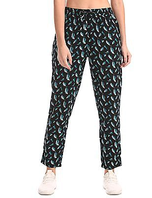 Cherokee Black Printed Mid Rise Pants