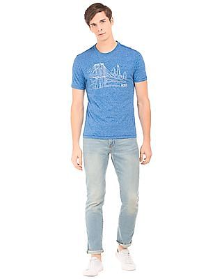 Aeropostale Heathered Brand Embroidered T-Shirt