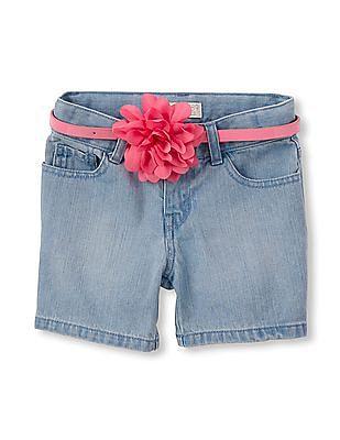 The Children's Place Girls Denim Flower Belt Midi Shorts