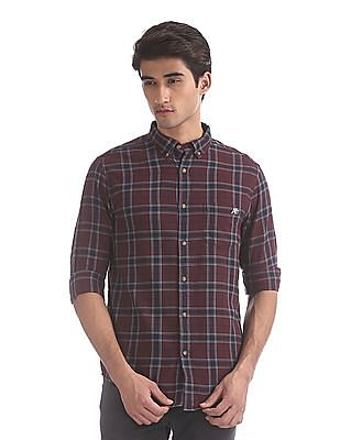 Aeropostale Red Rounded Cuff Check Shirt