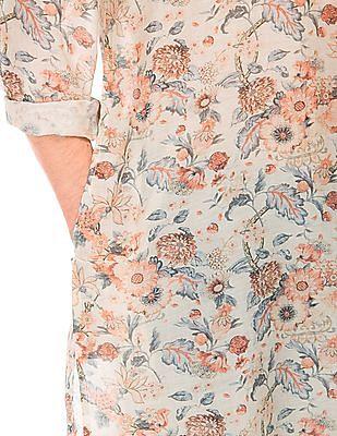 Arvind Regular Fit Floral Print Kurta