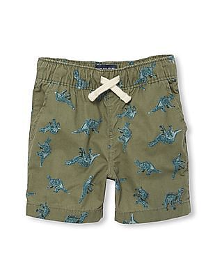The Children's Place Toddler Boy Dino Printed Pull-On Woven Jogger Shorts