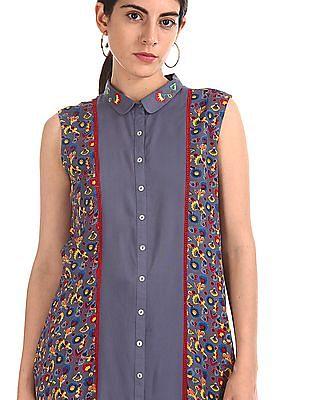 Karigari Shirt Collar Printed Kurta