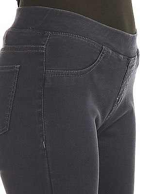 Cherokee Grey Mid Rise Solid Jeggings