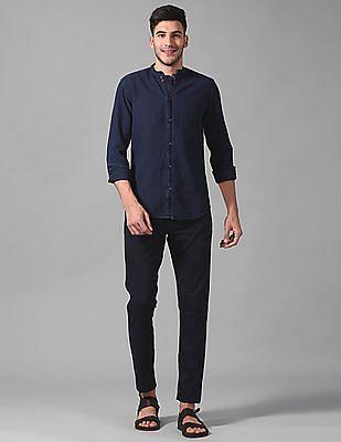 True Blue Slim Fit Textured Shirt