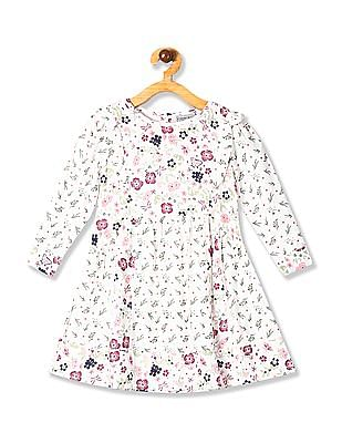 Cherokee White Girls Floral Print Fit And Flare Dress