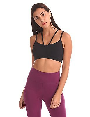 Aeropostale Cross Strap Solid Sports Bra