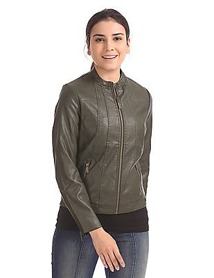 U.S. Polo Assn. Women Regular Fit Panelled Biker Jacket