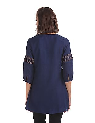 Bronz V-Neck Embroidered Tunic