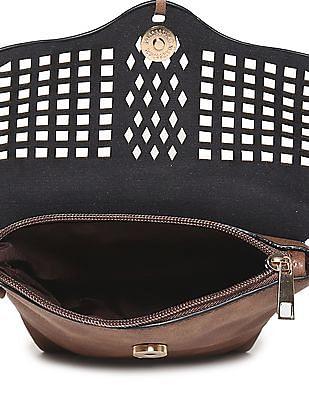 SUGR Brown Cutwork Sling Bag