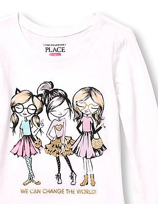 The Children's Place Toddler Girl Long Sleeve Glitter 'We Can Change The World' Girls Graphic Tee