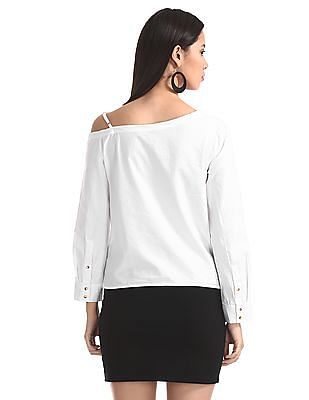 SUGR White Solid One Shoulder Top