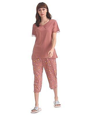 SUGR Pink T-Shirt And Capri Set