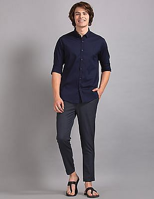 True Blue Blue Slim Fit Solid Shirt