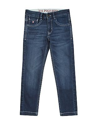 U.S. Polo Assn. Kids Boys Mid Rise Stone Washed Jeans
