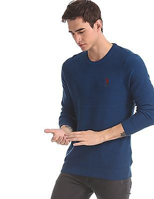 U.S. Polo Assn. Blue Crew Neck Solid Sweater