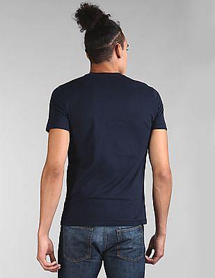 GAP Men Blue Logo Flag Graphic Short Sleeve Crewneck T-Shirt