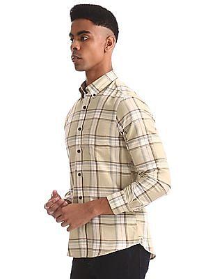 Arrow Sports Beige Slim Fit Cotton Shirt