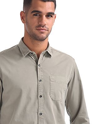 Flying Machine Solid Cotton Shirt