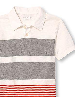 The Children's Place Boys White Short Sleeve Multi Stripe Jersey Polo
