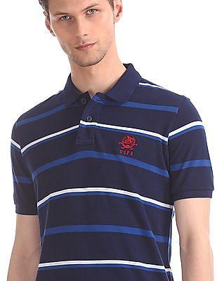 U.S. Polo Assn. Blue Striped Cotton Polo Shirt