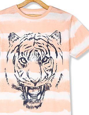 The Children's Place Orange Boys Tie-Dye Stripe Tiger Graphic T-Shirt