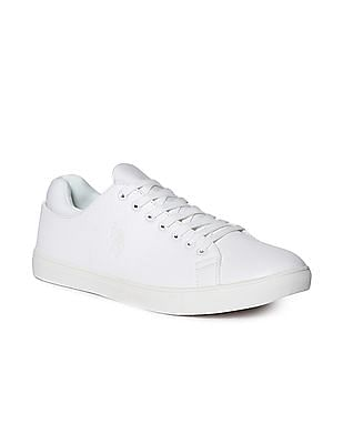 U.S. Polo Assn. White Round Toe Lace Up Sneakers