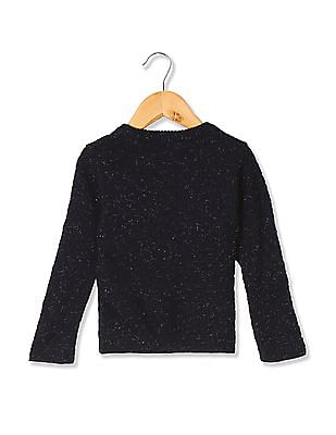 Donuts Girls Patterned Knit Shimmer Sweater
