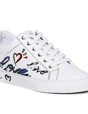 GUESS Embroidered Branding Lace Up Sneakers