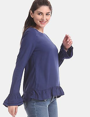 Aeropostale Blue Tiered Bell Sleeve Solid Top