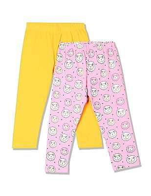 Donuts Girls Mid Rise Printed Leggings - Pack Of 2