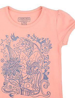 Cherokee Girls Round Neck Printed T-Shirt