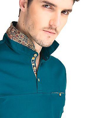 True Blue Regular Fit Printed Trim Polo Shirt