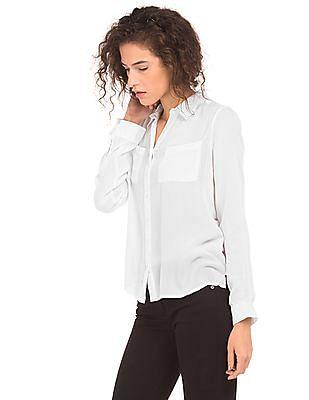 Cherokee High Low Hem Crinkled Shirt