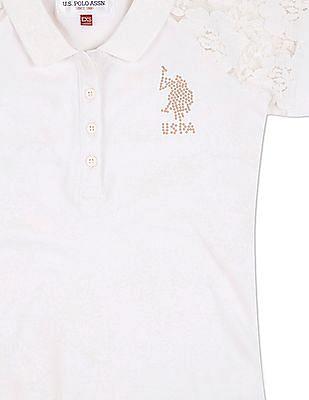 U.S. Polo Assn. Kids Girls Lace Raglan Sleeve Pique Polo Shirt