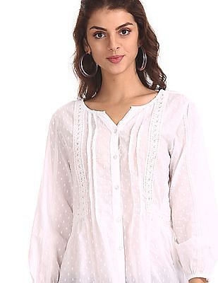 Cherokee White Lace Accent Patterned Top