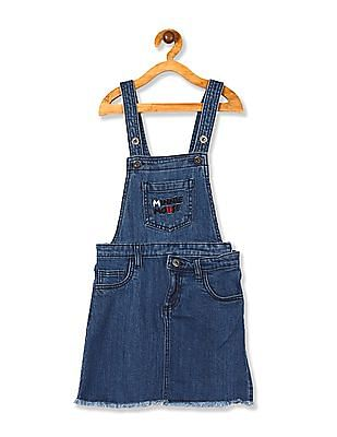 Colt Blue Girls Minnie Mouse Embroidered Denim Dungaree Skirt
