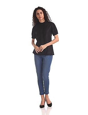 U.S. Polo Assn. Women Tucked Front Band Neck Top