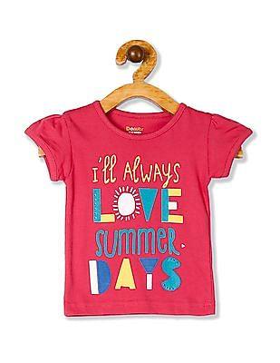 Donuts Pink Girls Crew Neck Printed T-Shirt