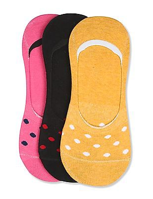 Unlimited Assorted Polka Pattern No Show Socks - Pack Of 3