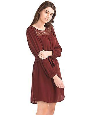 GAP Crochet Panel Tie Belt Dress