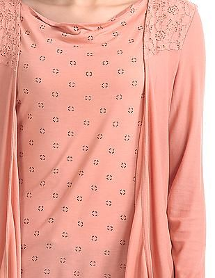 Elle Studio Printed Lace Layered Top
