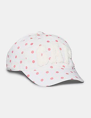 GAP White Toddler Girl Polka Print Cotton Cap