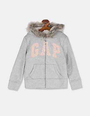 GAP Girls Grey Embroidered Logo Hooded Sweatshirt